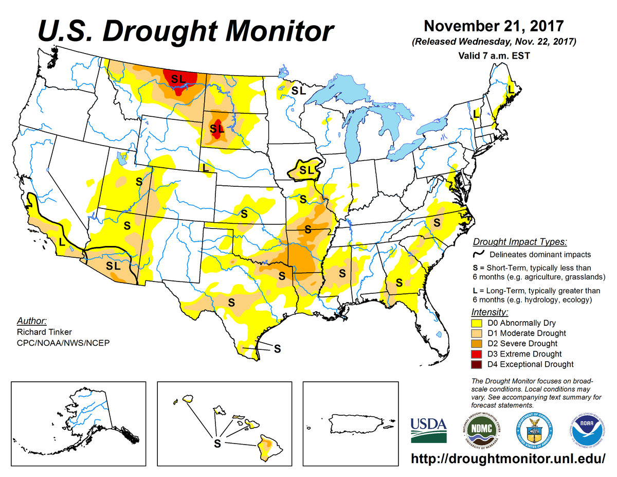 Map of U.S. drought conditions for November, 21, 2017