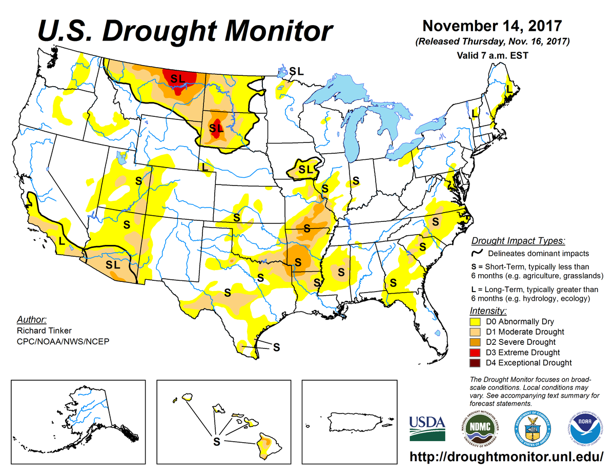Map of U.S. drought conditions for November 14, 2017