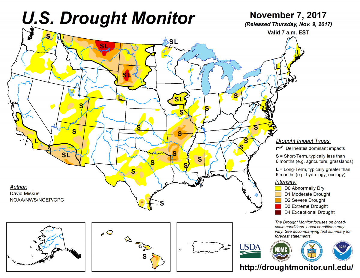 Map of U.S. drought conditions for November 7, 2017