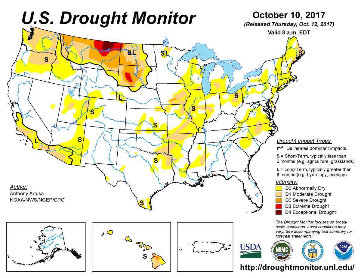 Map of U.S. drought conditions for October 10, 2017