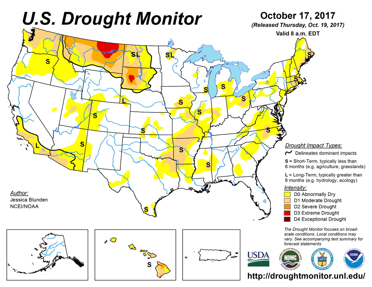 Map of U.S. drought conditions for October 17, 2017
