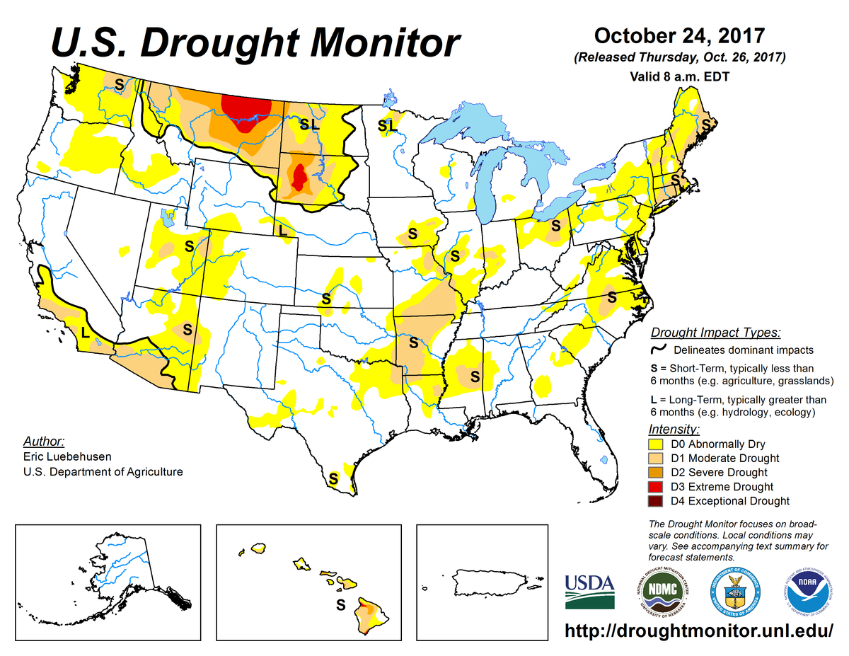 Map of U.S. drought conditions for October 24, 2017