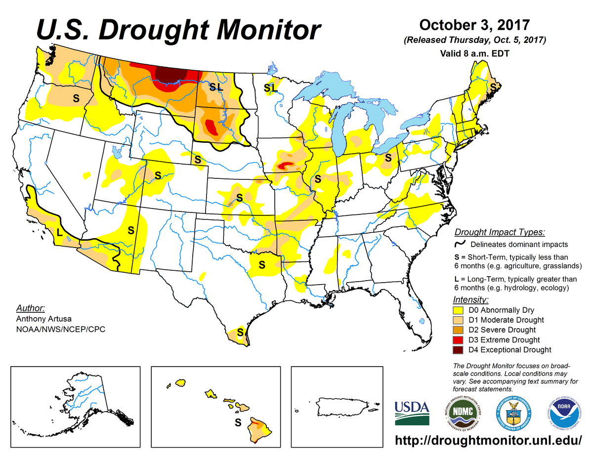 Map of U.S. drought conditions for October 3, 2017