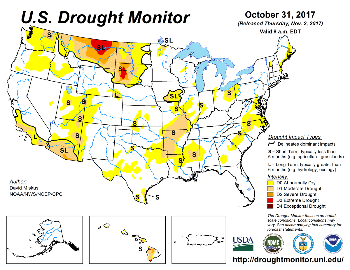 Map of U.S. drought conditions for October 31, 2017