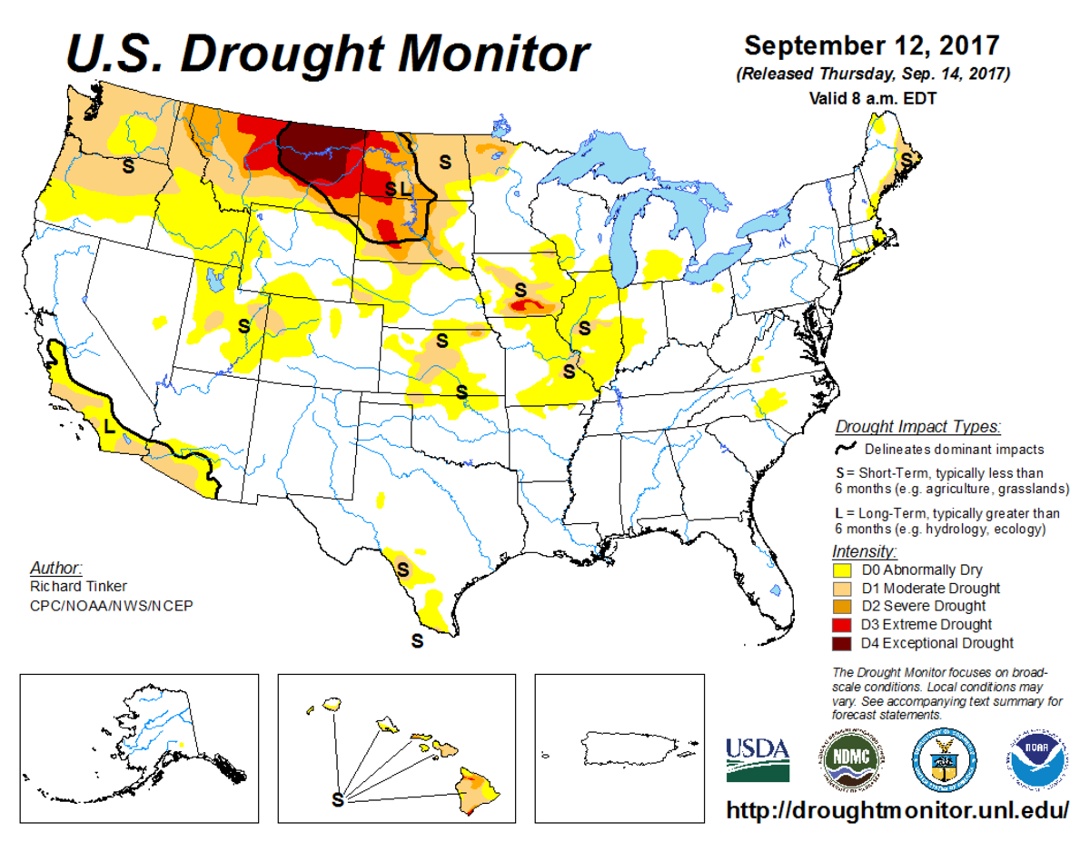 Map of U.S. drought conditions for September 12, 2017