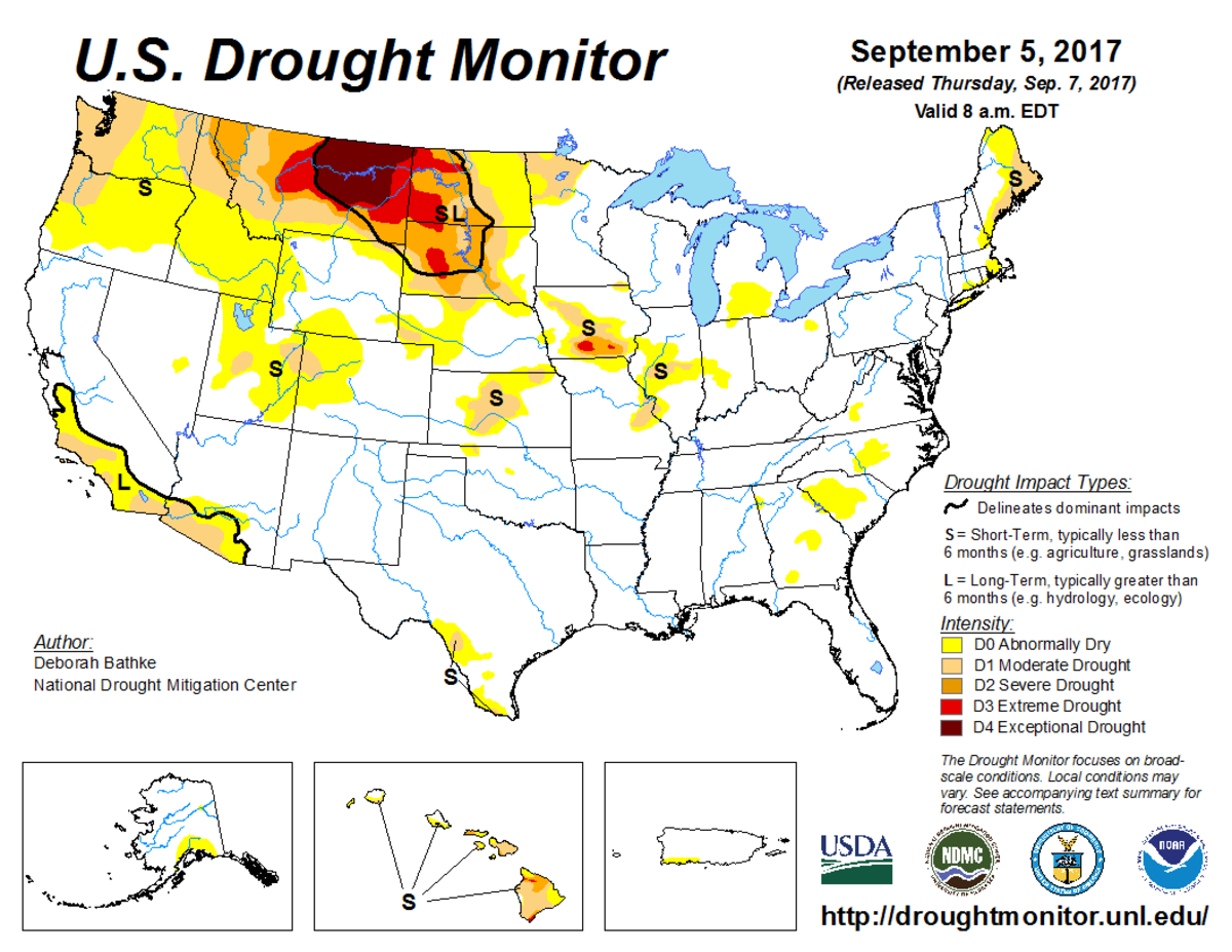 Map of U.S. drought conditions for September 5, 2017