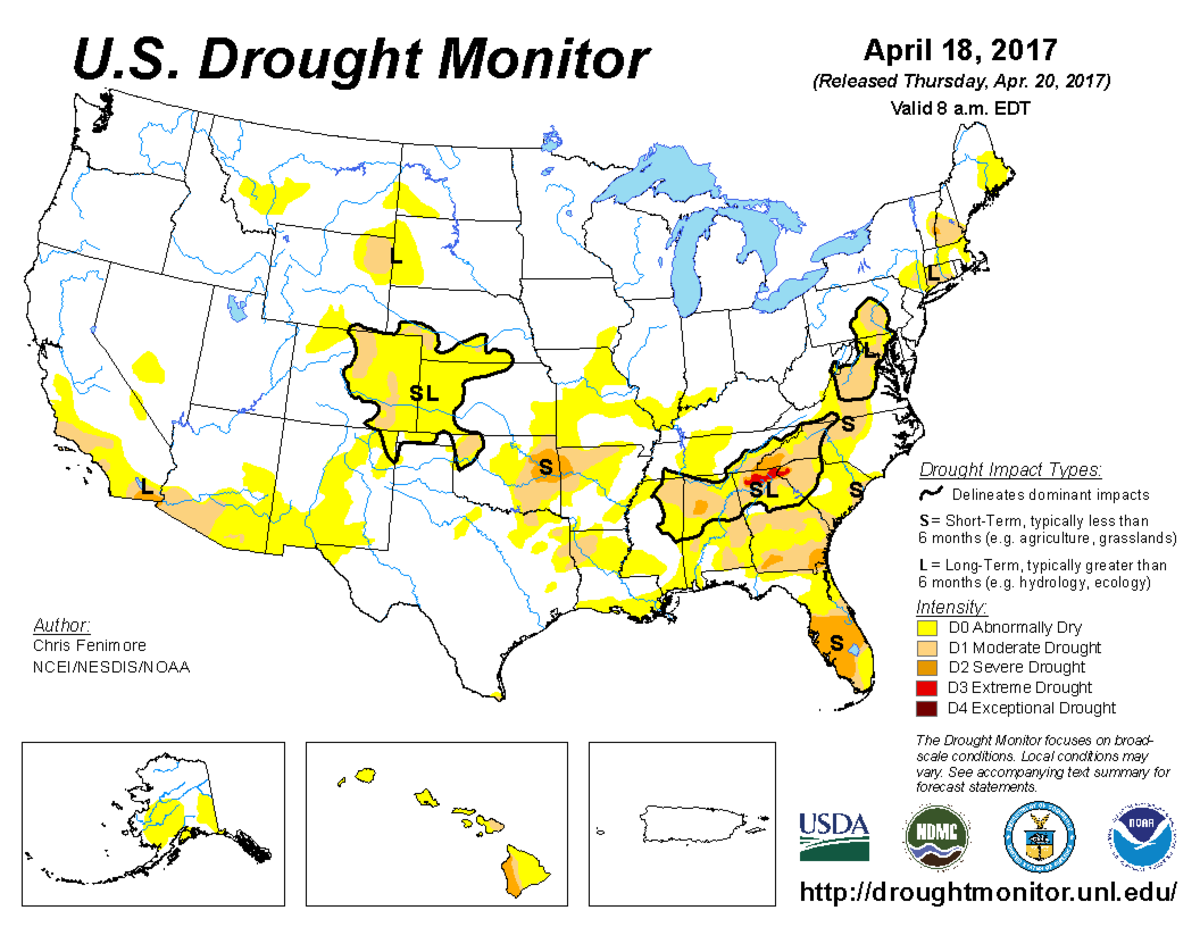 Map of U.S. drought conditions for April 18, 2017