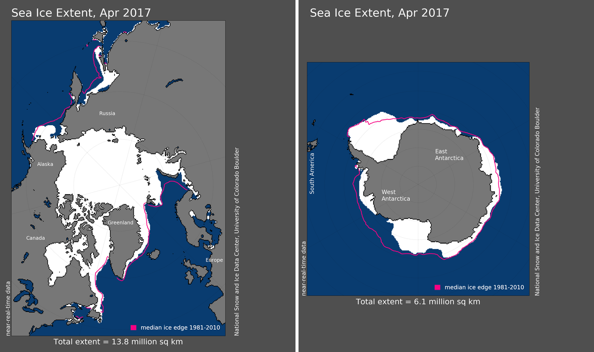 Maps of Arctic and Antarctic sea ice extent in April 2017