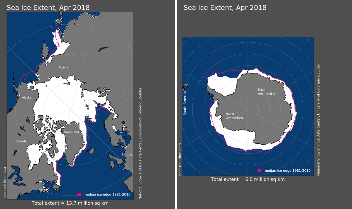 Maps of Arctic and Antarctic sea ice extent in April 2018
