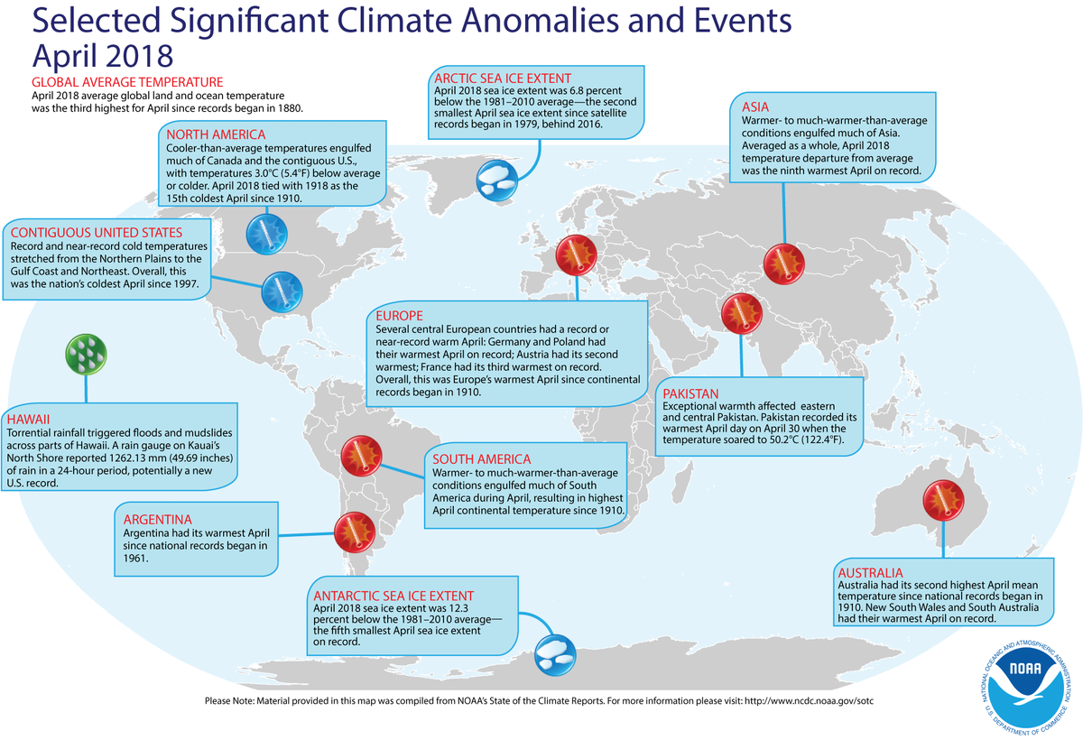 Map of global selected significant climate anomalies and events for April 2018