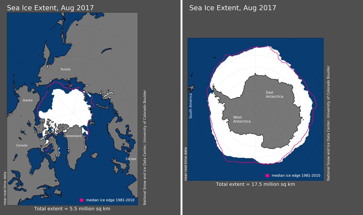 Maps of Arctic and Antarctic sea ice extent in August 2017