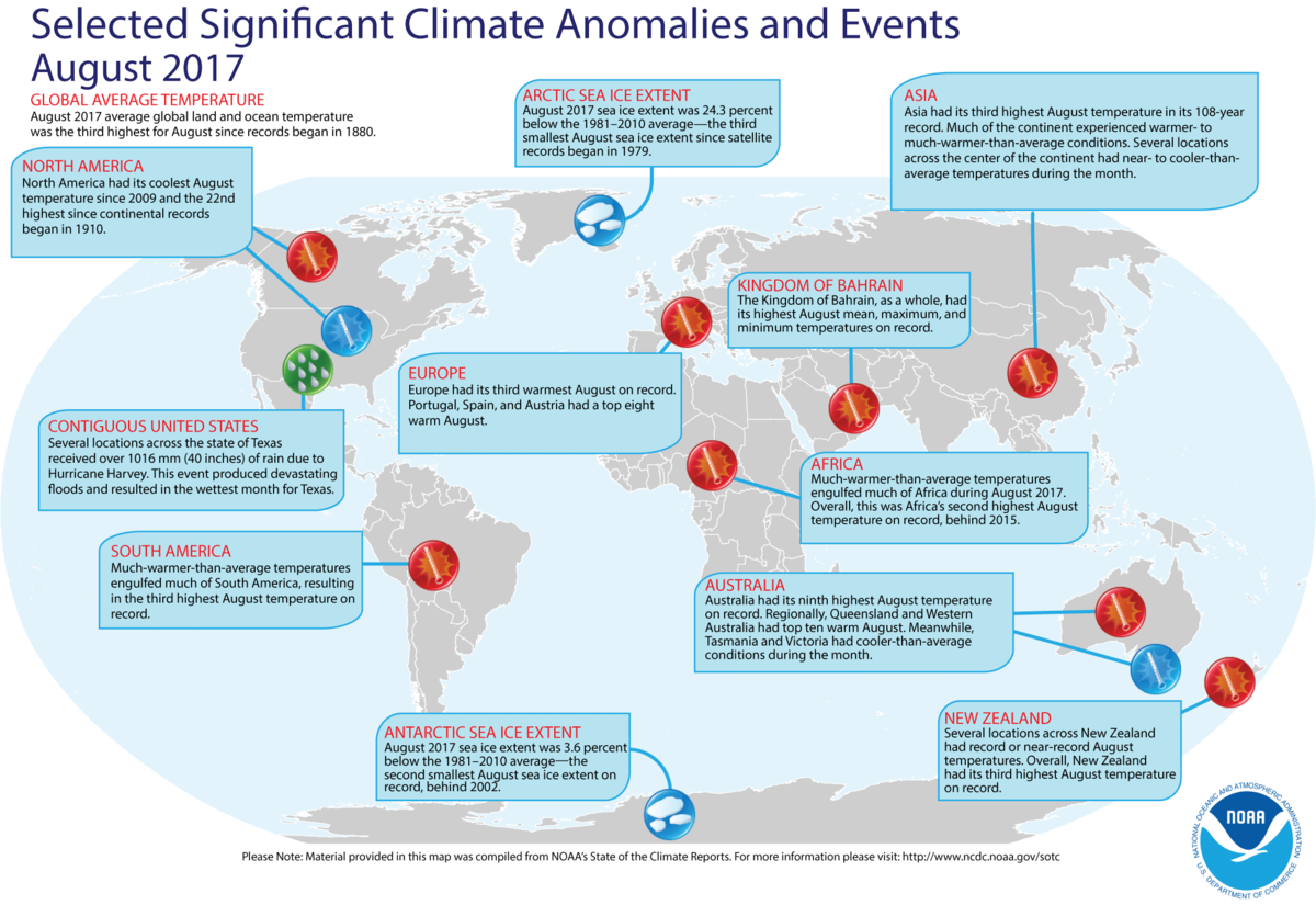 Map of global selected significant climate anomalies and events for August 2017