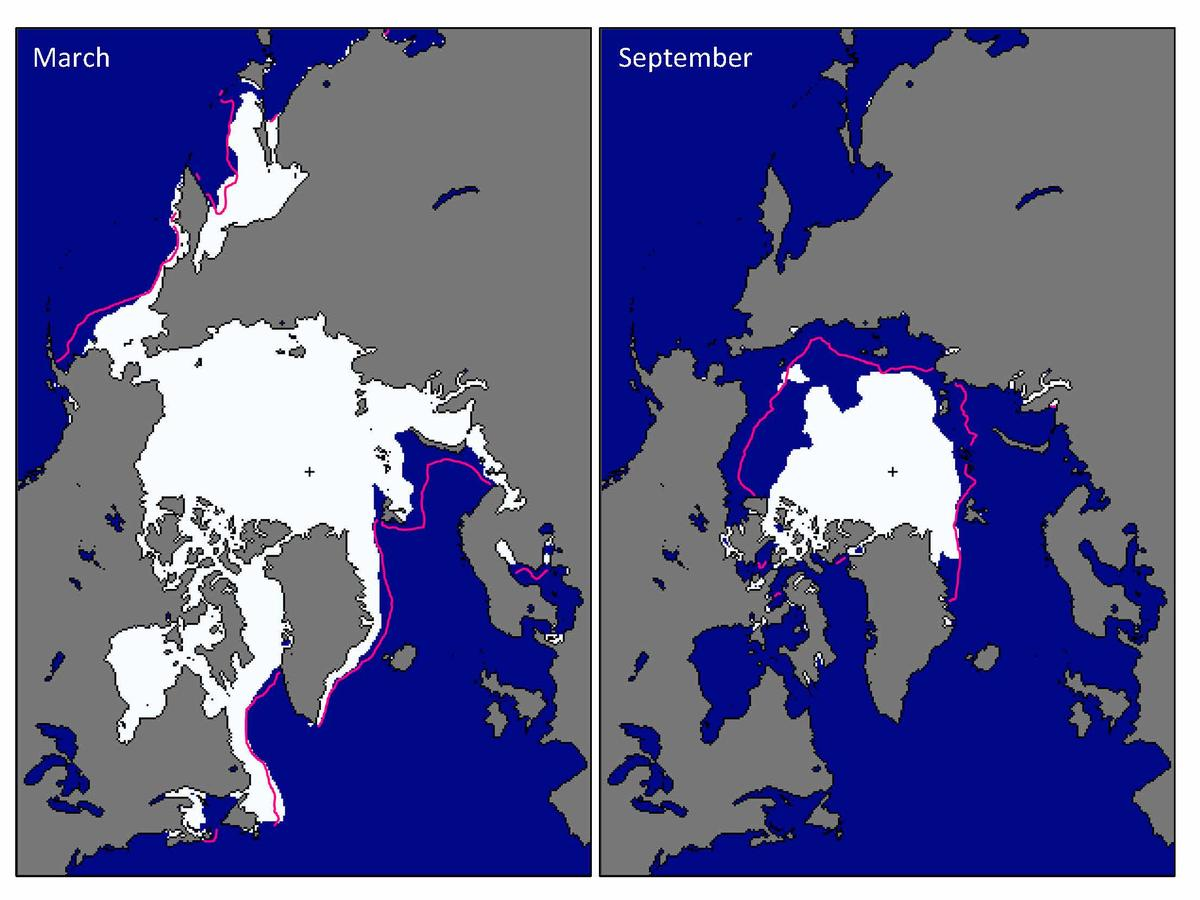 The average monthly sea ice extent in March 2016 and September 2016.