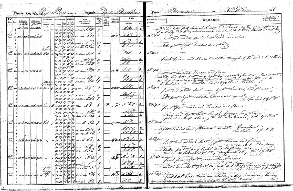 Photo of the Bremen's April 1856 ship log