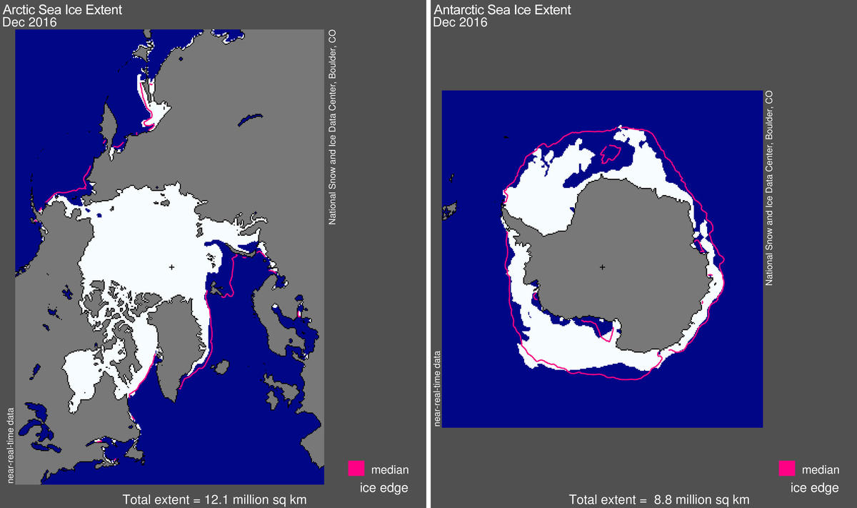 Maps of December 2016 Arctic and Antarctic sea ice extent