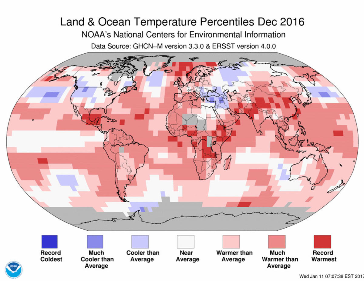 Map of global temperature percentiles for December 2016