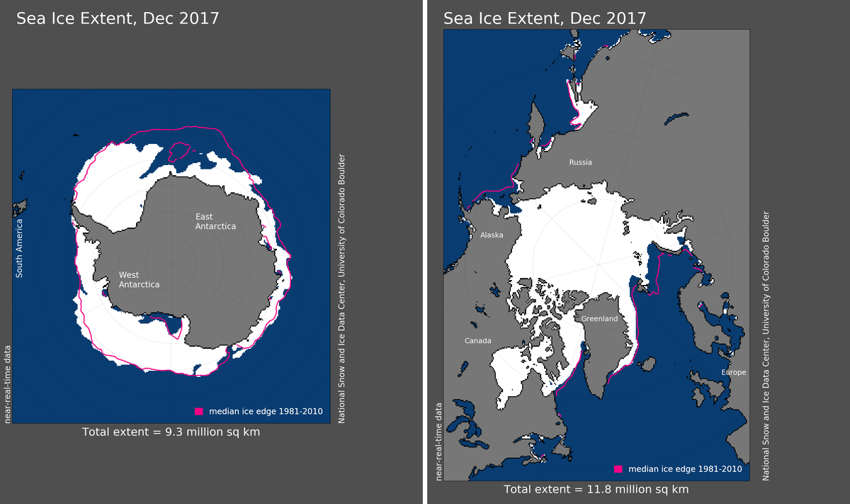 Maps of Arctic and Antarctic sea ice extent in December 2017