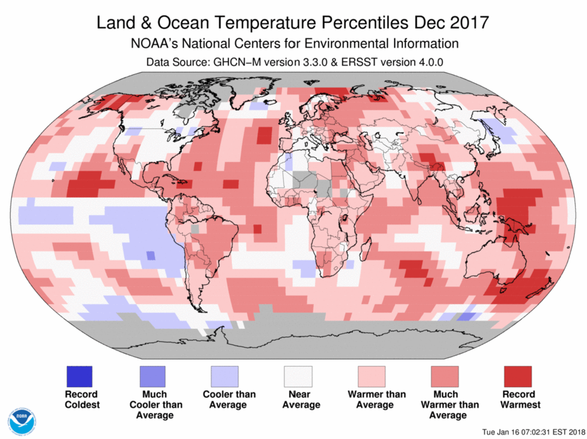 Map of global temperature percentiles for December 2017