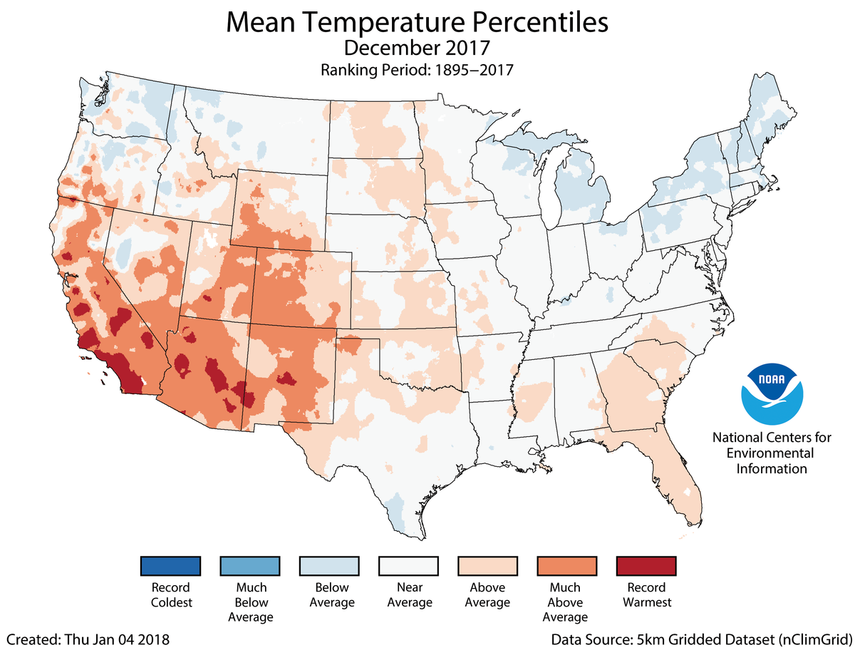 Map of December 2017 U.S. average temperature percentiles