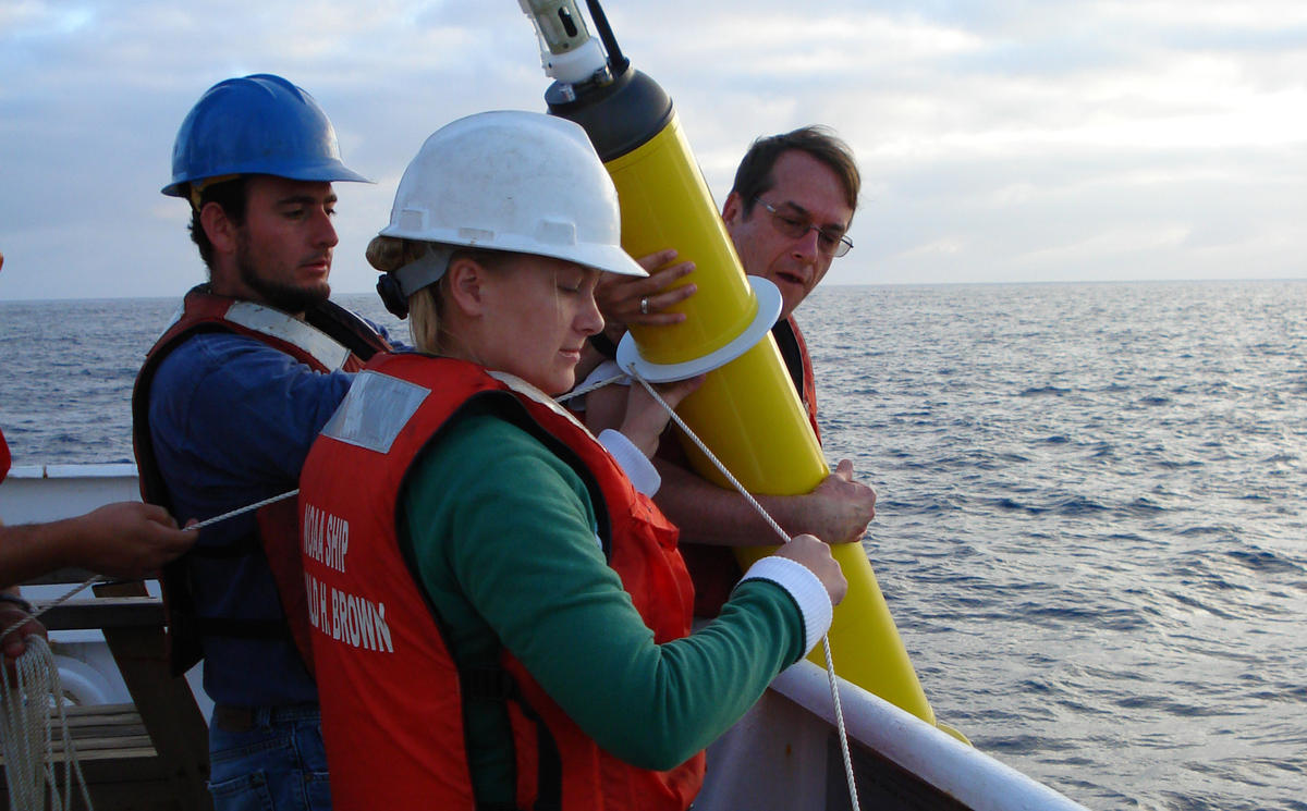 Image of deploying an Argo float from ship. Courtesy NOAA Corps.