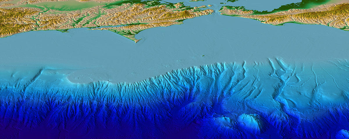 Image of a digital elevation model for central California