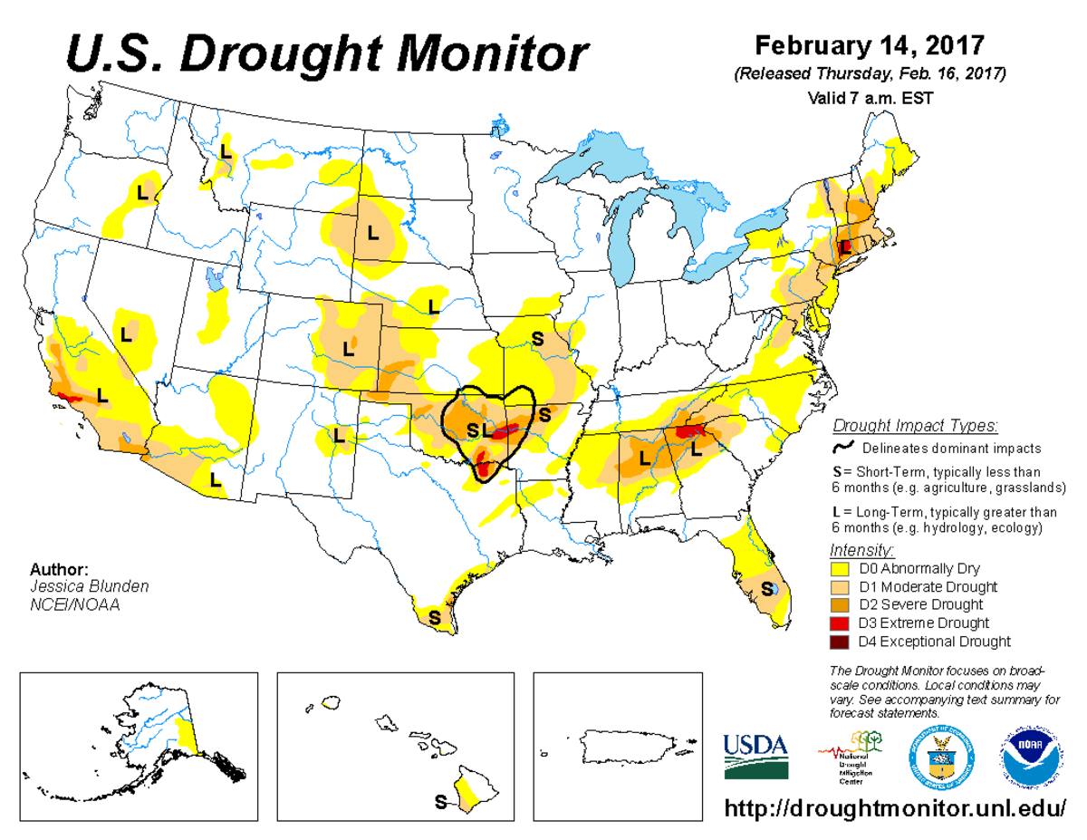 Map of U.S. drought conditions for February 14, 2017