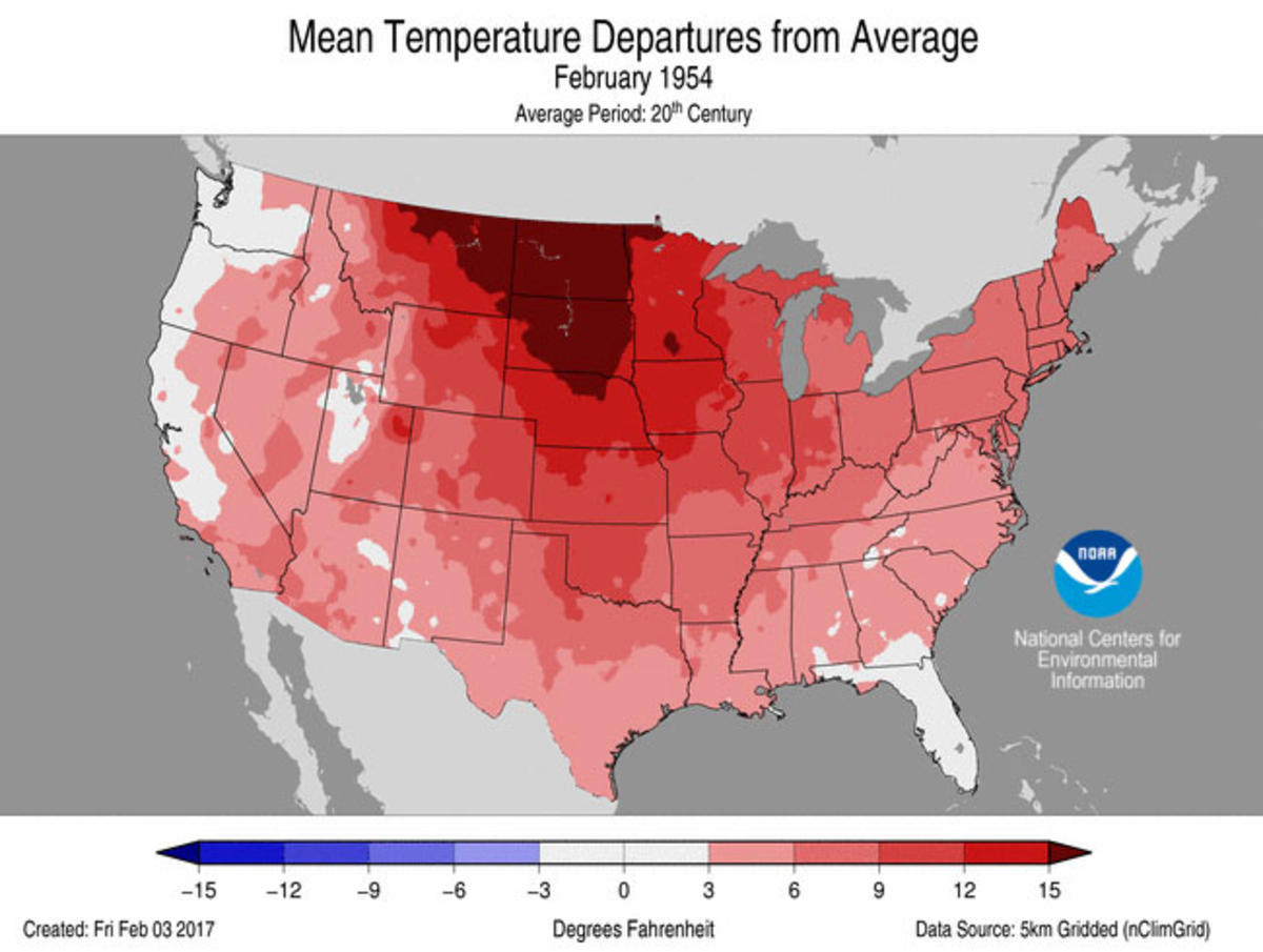 Map of February 1954 mean temperature departures from average in the United States