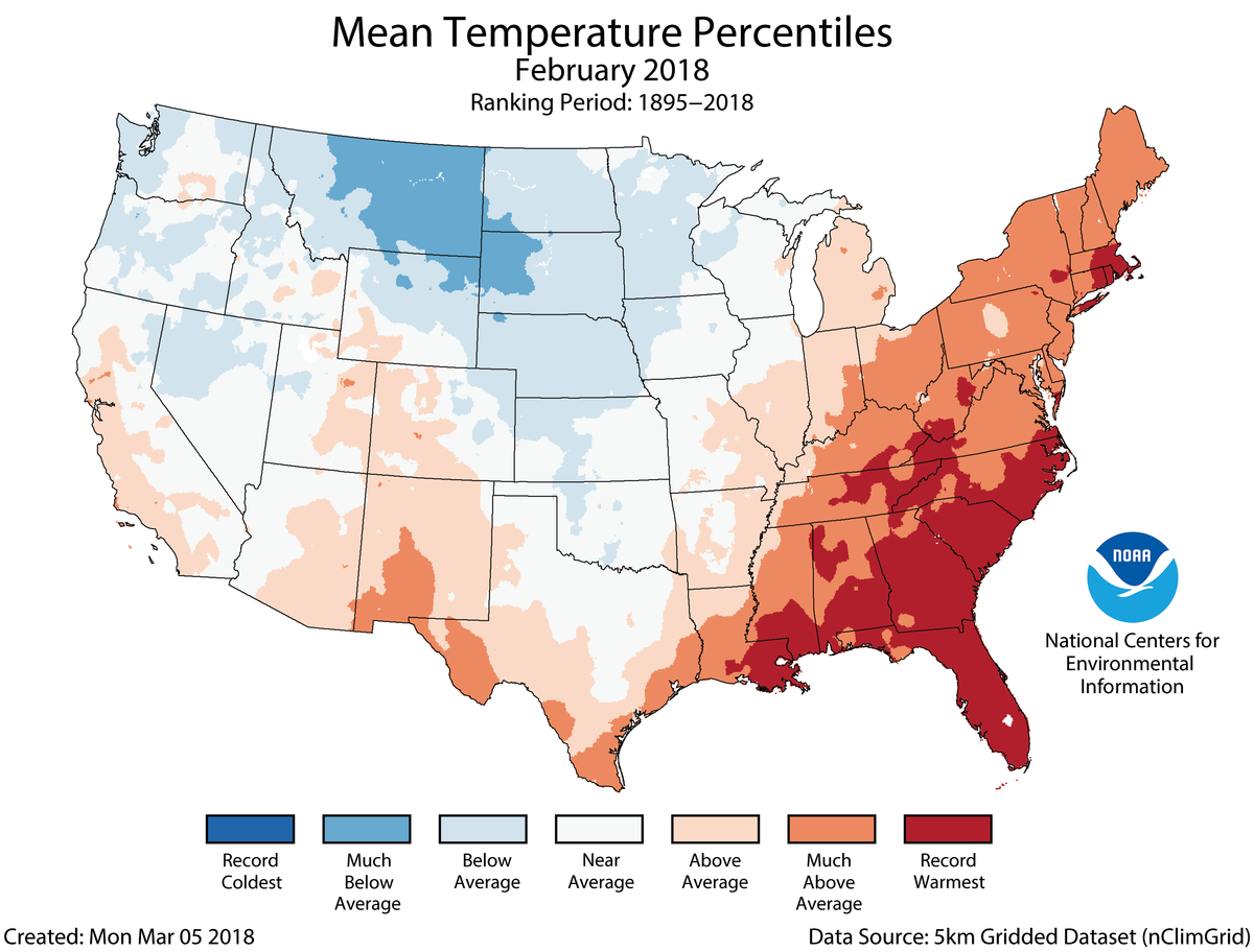 Map of February 2018 U.S. average temperature percentiles