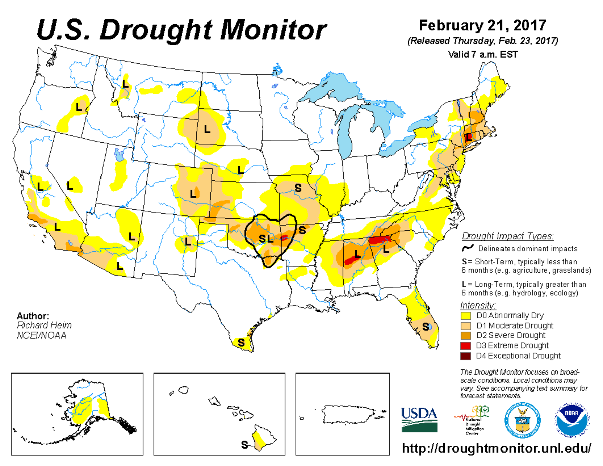 Map of U.S. drought conditions for February 21, 2017