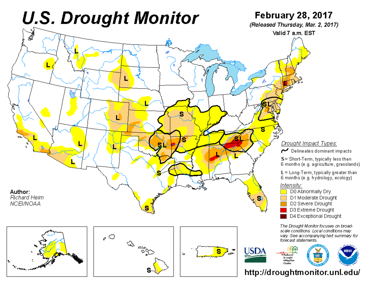 Map of U.S. drought conditions for February 28, 2017