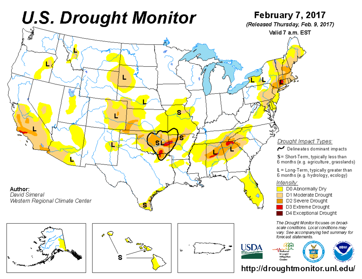 Map of U.S. drought conditions for February 7, 2017