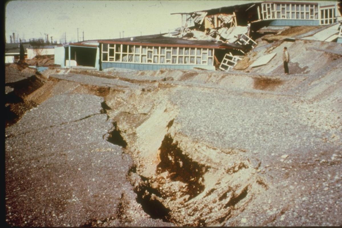 Government Hill Elementary School torn apart by the Great Alaska Earthquake