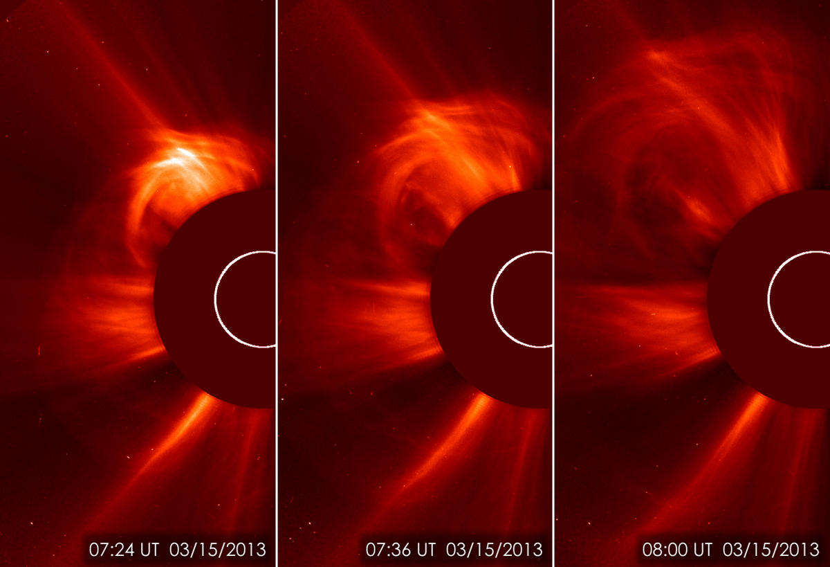 Image of a coronal mass ejection (CME) on March 15, 2013