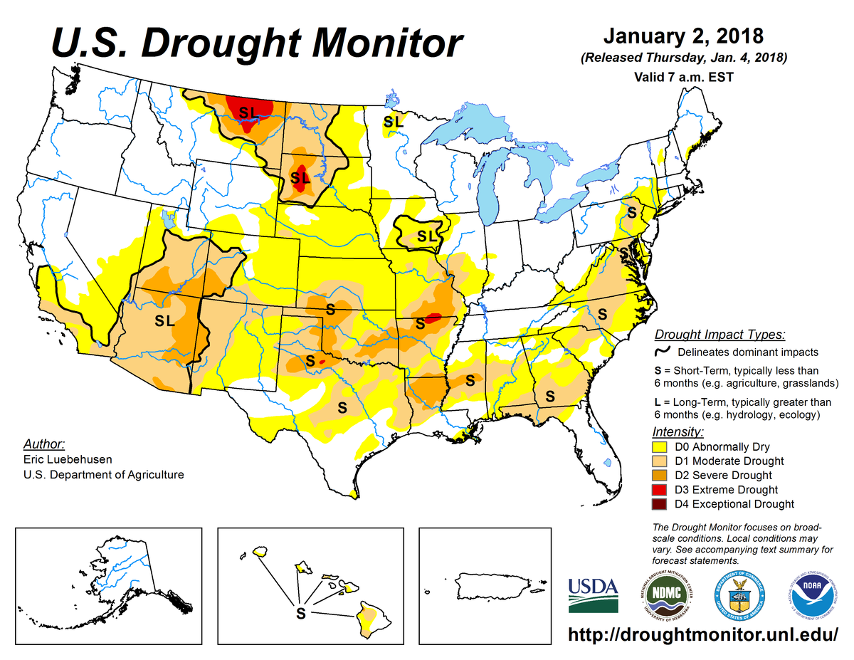 Map of January 2, 2018, U.S. Drought Monitor.