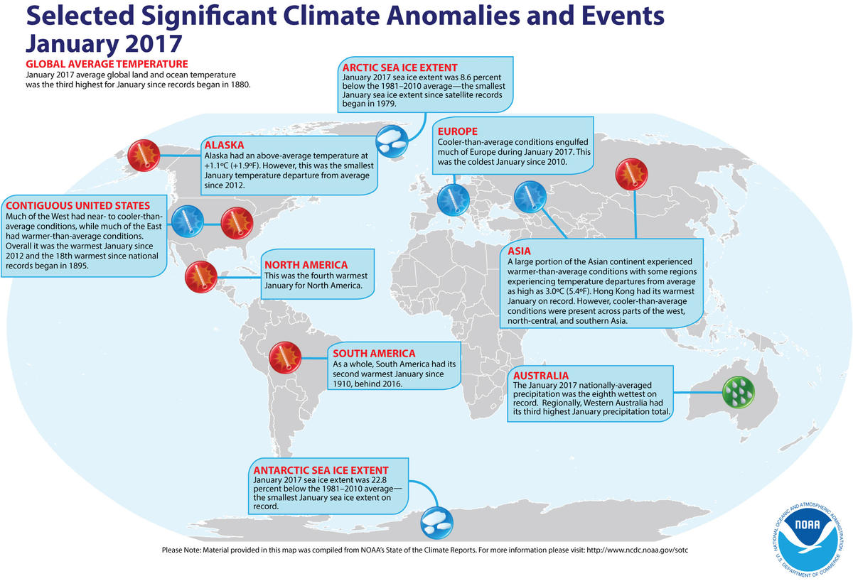 Map of global significant climate events during January 2017