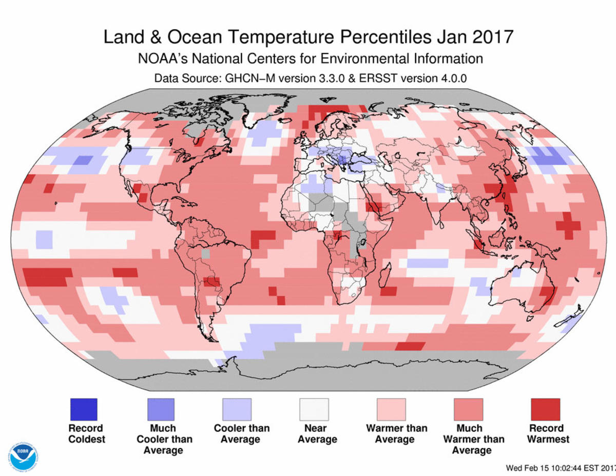 Map of global temperature percentiles for January 2017