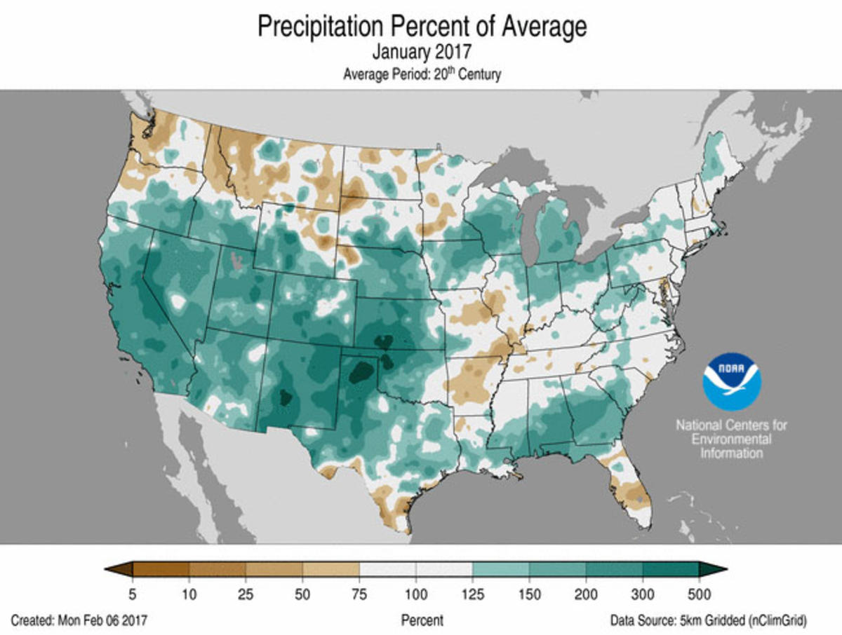 Map of January 2017 U.S. Percent of Average Precipitation