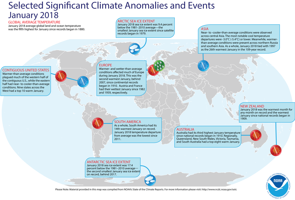 Map of global selected significant climate anomalies and events for January 2018