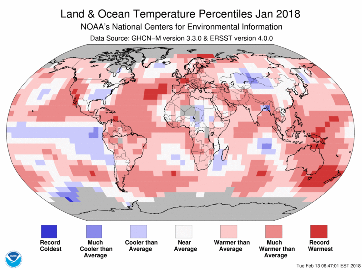 Map of global temperature percentiles for January 2018