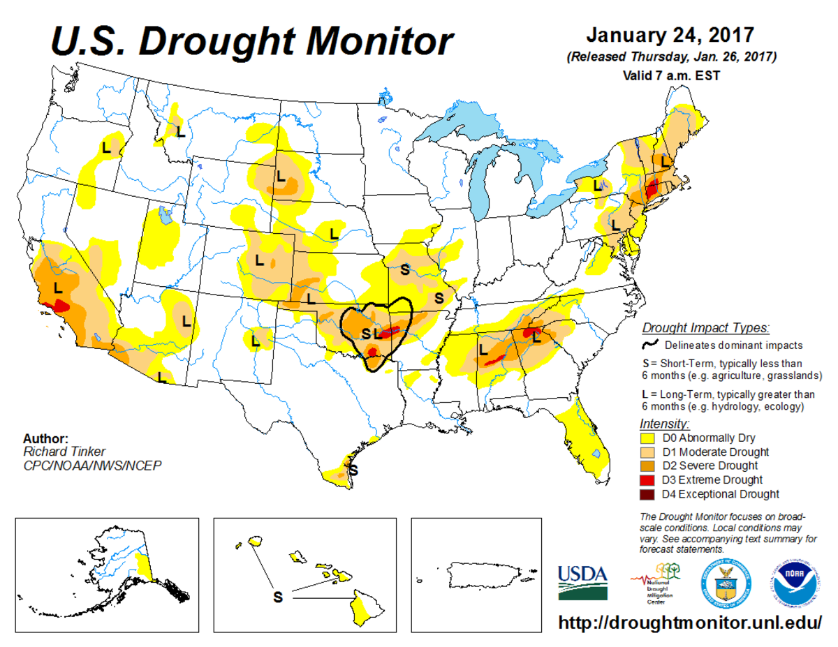 Map of U.S. drought conditions for January 24, 2017