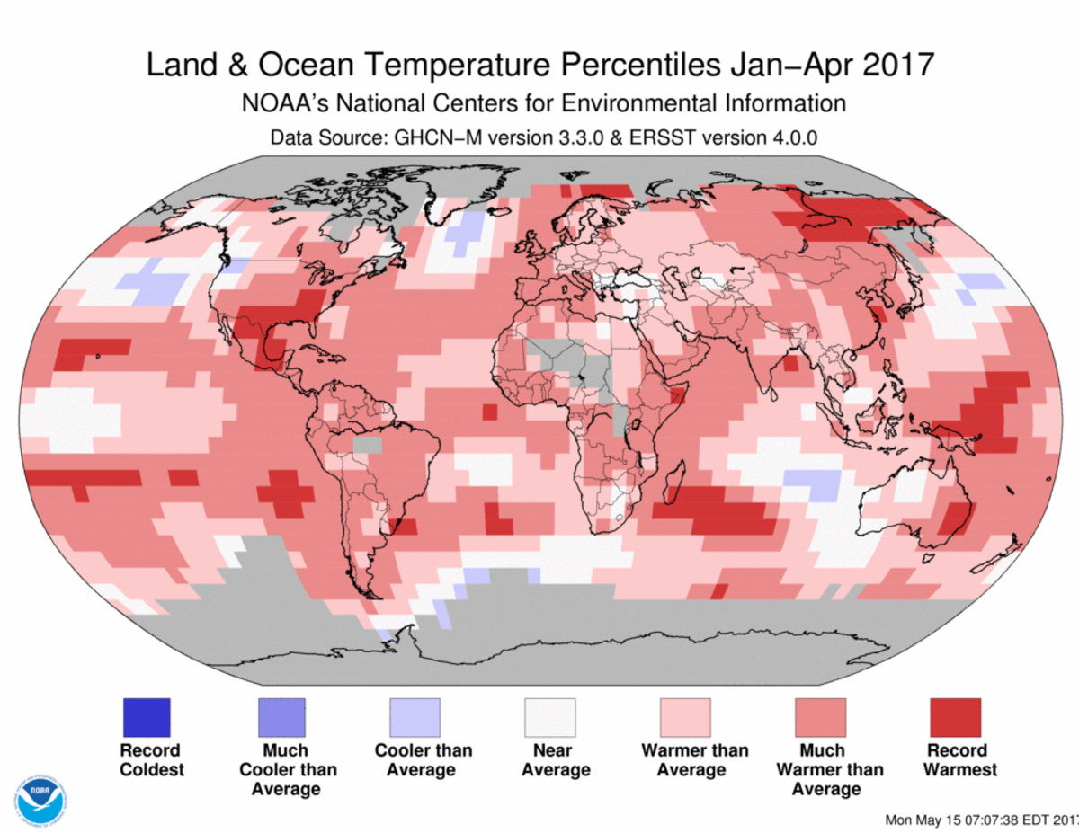 Map of global temperature percentiles for January to April 2017