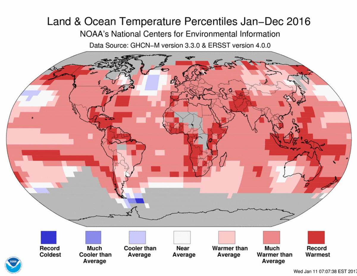 Map of global temperature percentiles for January through December 2016