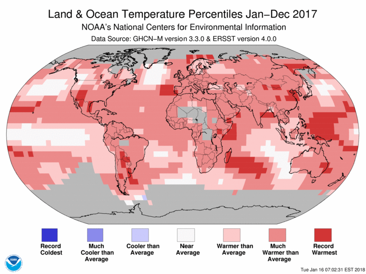 Map of global temperature percentiles for January to December 2017