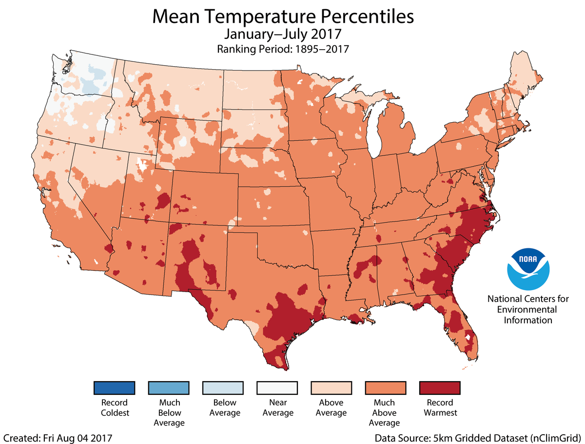 Map of January to July 2017 U.S. average temperature percentiles