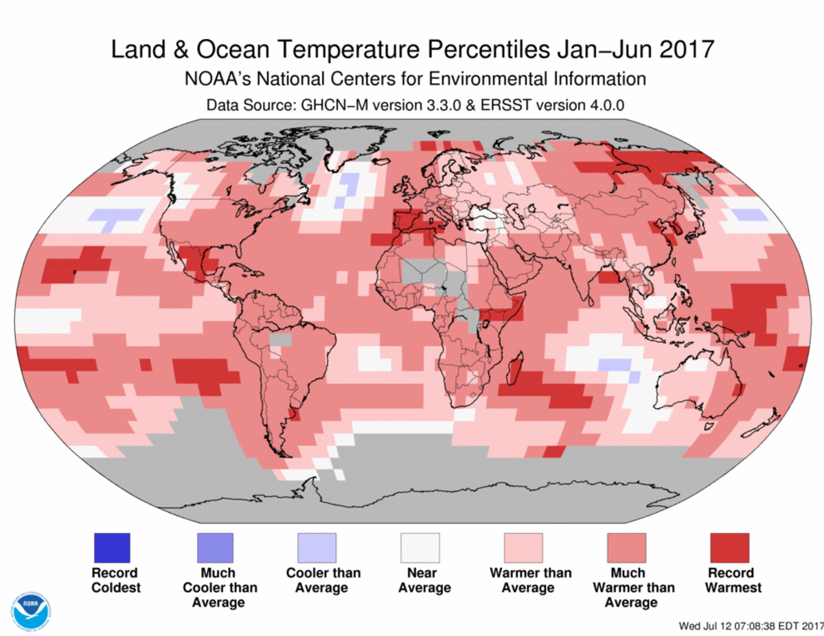 Map of global temperature percentiles for January to June 2017