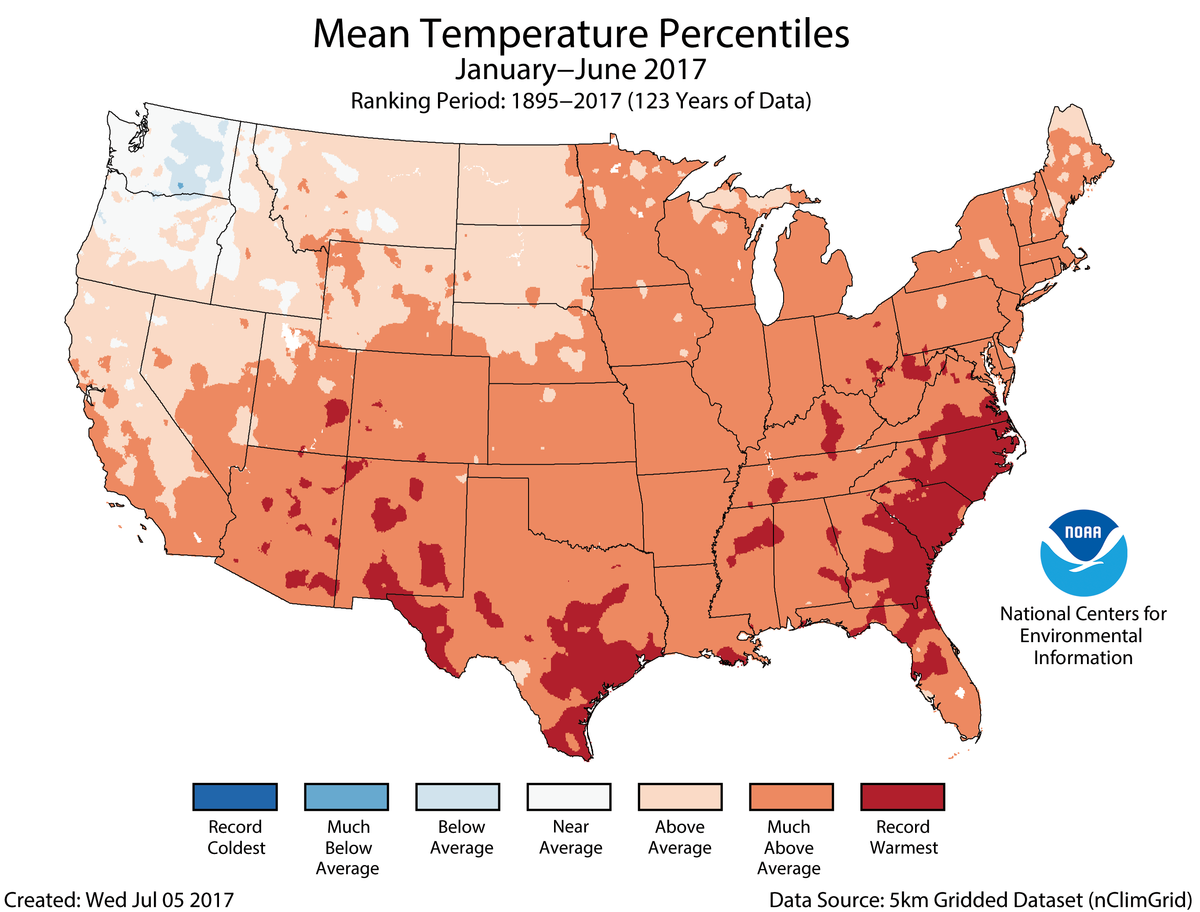 Map of January to June 2017 U.S. average temperature percentiles