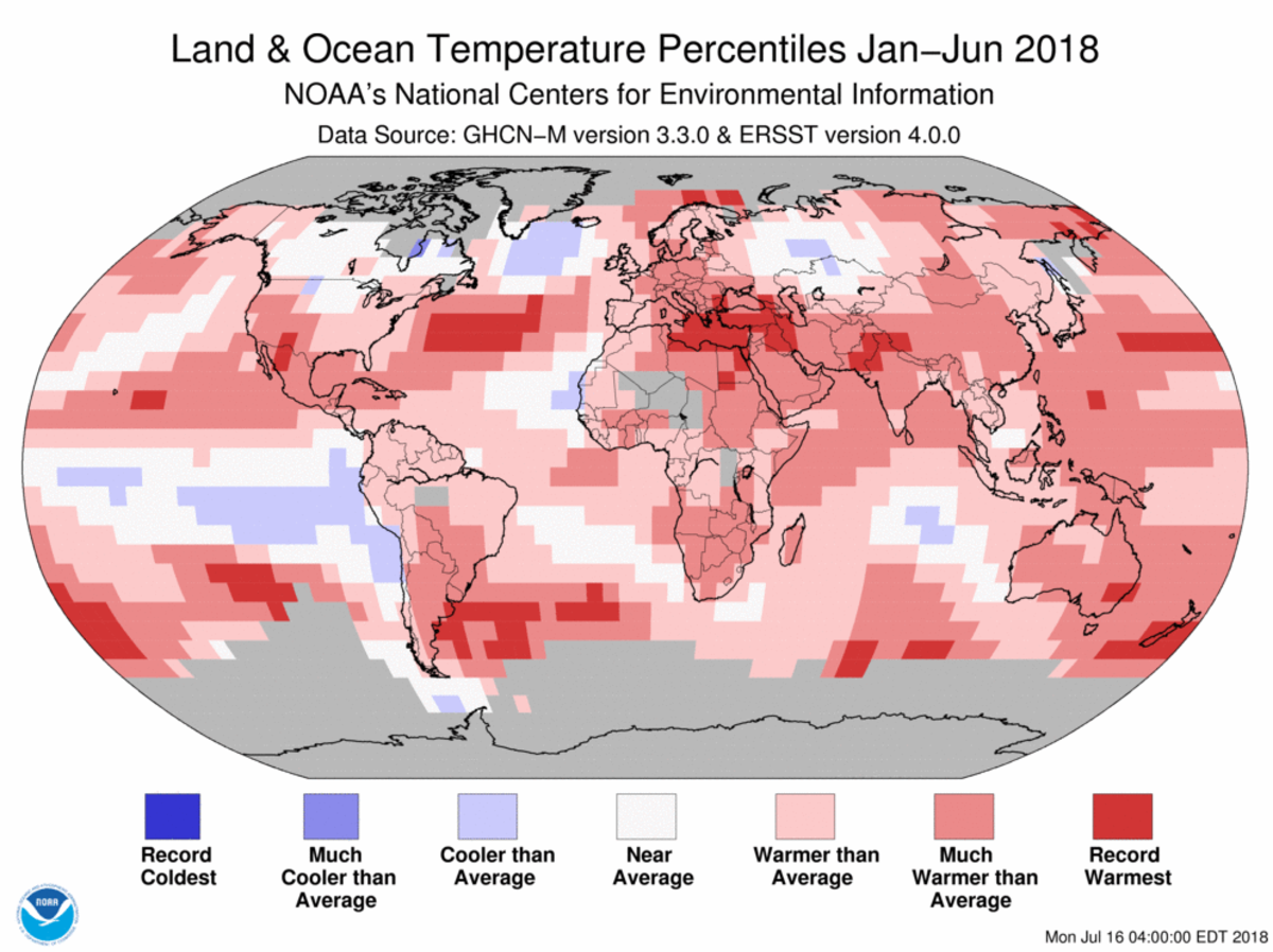 Map of global temperature percentiles for January to June 2018