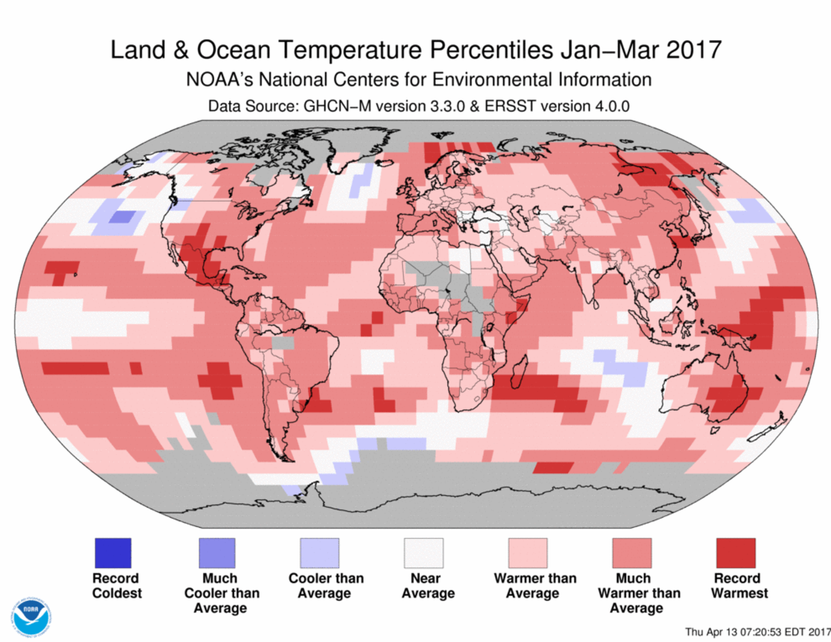 Map of January to March 2017 global temperature percentiles
