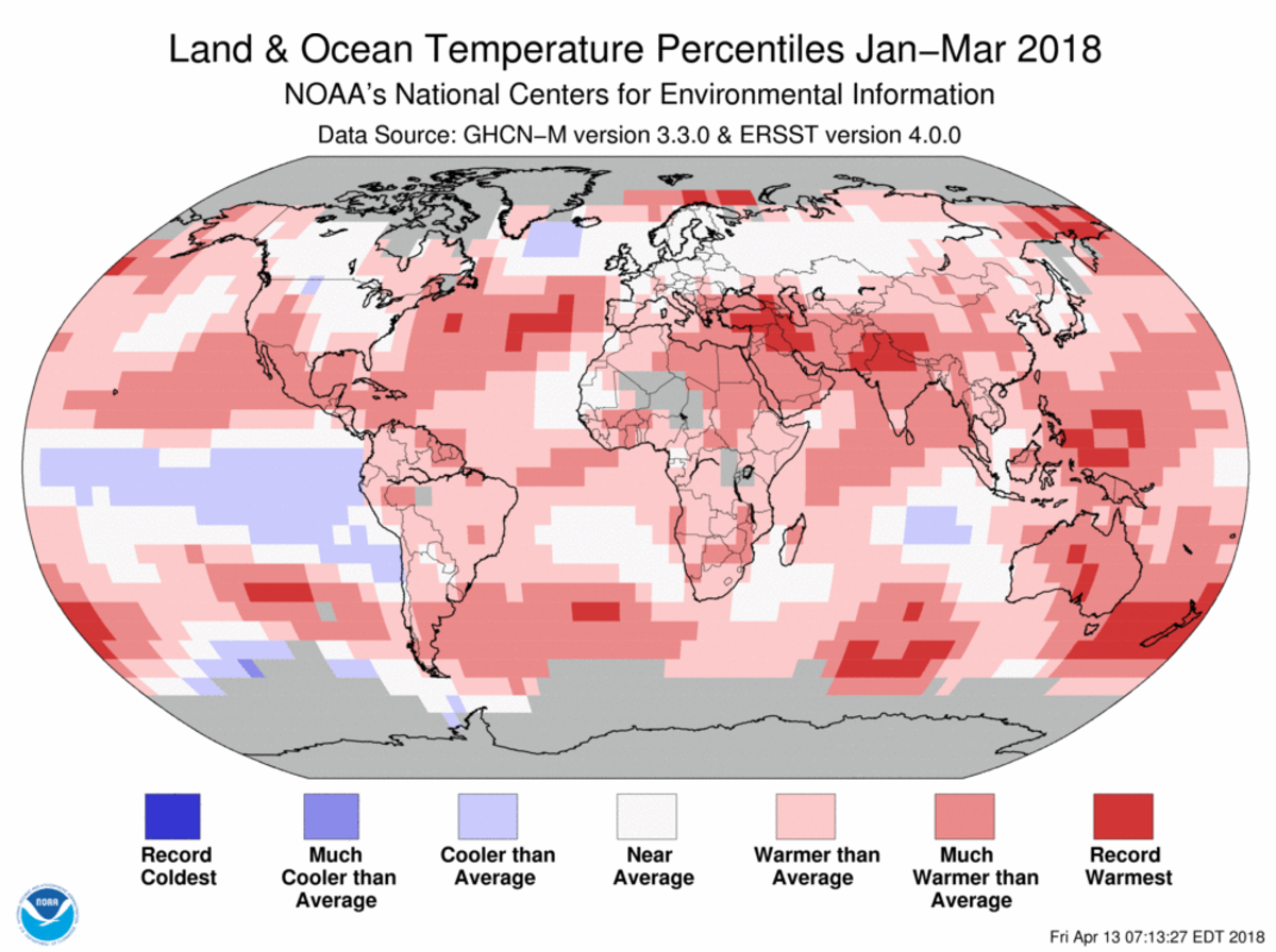 Map of global temperature percentiles for January to March 2018