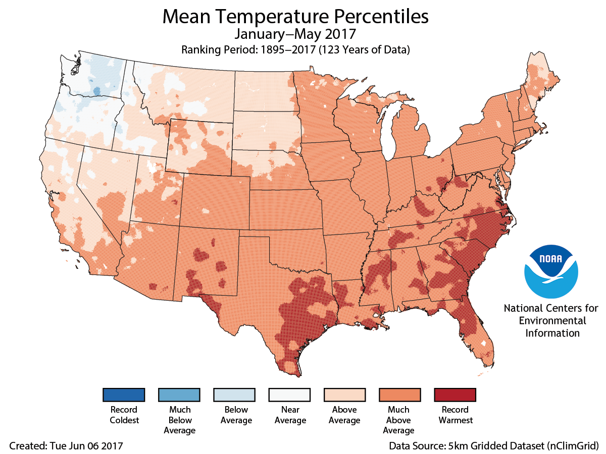 Map of January to May 2017 U.S. average temperature percentiles